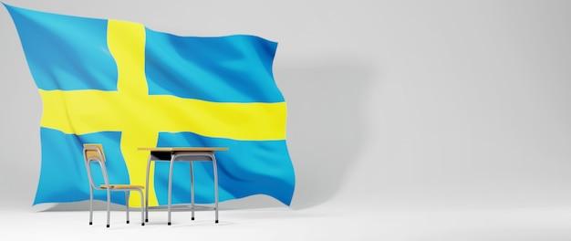 Bildungskonzept. 3d des schreibtisches und der schwedenflagge auf weißem hintergrund. zurück zur schule.
