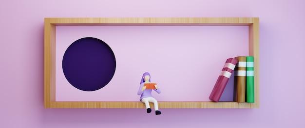 Bildungskonzept. 3d eines mädchens las buch auf rosa hintergrund.