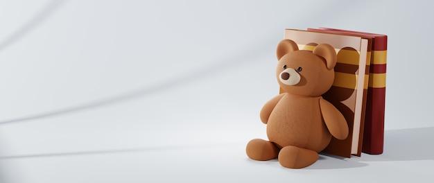 Bildungskonzept. 3d-rendering von büchern und teddy auf weißem hintergrund.