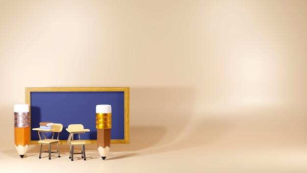 Bildungskonzept. 3d-rendering von stiften und schultischen im klassenzimmer.