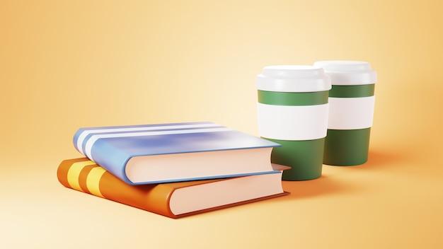 Bildungskonzept. 3d von büchern und kaffee auf orange hintergrund. isometrisches konzept des modernen flachen entwurfs der bildung. zurück zur schule.