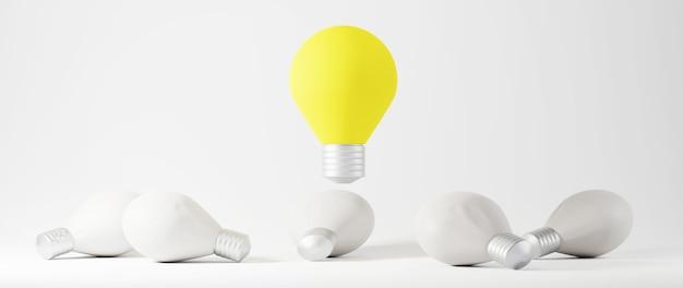 Bildungskonzept. 3d von glühbirnen auf weißem hintergrund. isometrisches konzept des modernen flachen entwurfs der bildung. zurück zur schule.