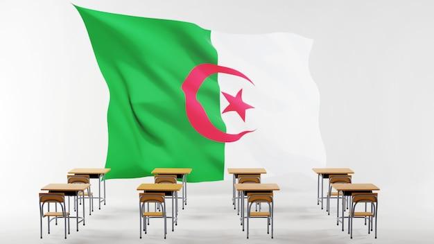Bildungskonzept. 3d von schreibtischen und algerienflagge. isometrisches konzept des modernen flachen entwurfs der bildung. zurück zur schule.