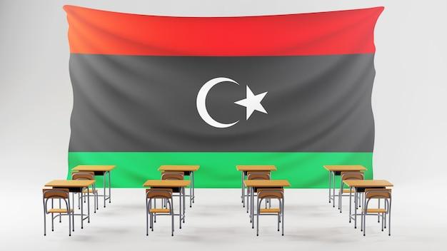 Bildungskonzept. 3d von schreibtischen und libyen flagge. isometrisches konzept des modernen flachen entwurfs der bildung. zurück zur schule.