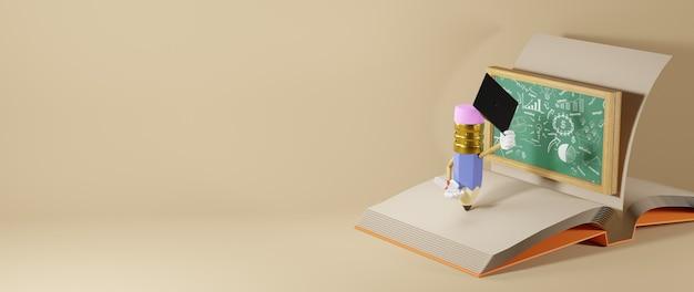 Bildungskonzept. 3d-wiedergabe eines bleistifts auf dem buch auf weißer wand.