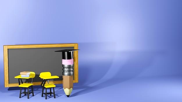 Bildungskonzept. 3d-wiedergabe eines bleistifts, der abschlusshut im klassenzimmer trägt.