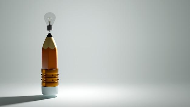 Bildungskonzept. 3d-wiedergabe eines bleistifts und einer glühbirne auf weißer wand.