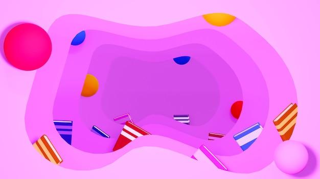 Bildungskonzept. 3d-wiedergabe von büchern auf rosa wand.