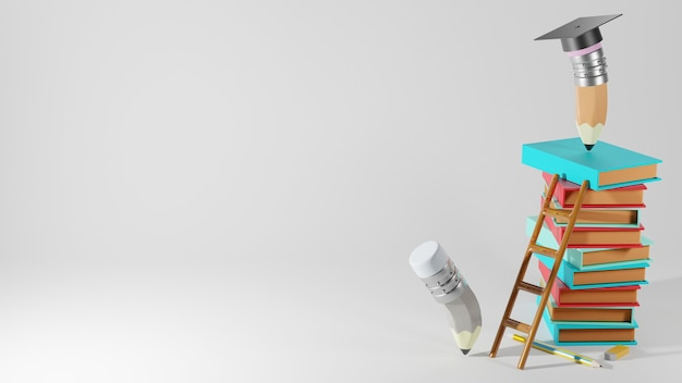 Bildungskonzept. 3d-wiedergabe von stiften und büchern auf weißer wand.