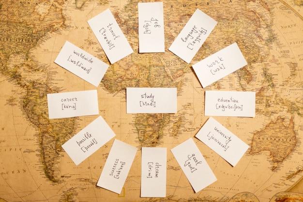 Bildungskonzept mit karten zum englischlernen. retro karte