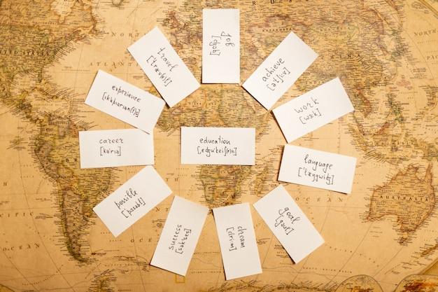 Bildungskonzept mit karten zum englischlernen