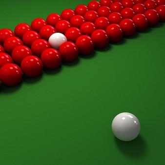 Billardspiel mit vielen roten und einem weißen ball