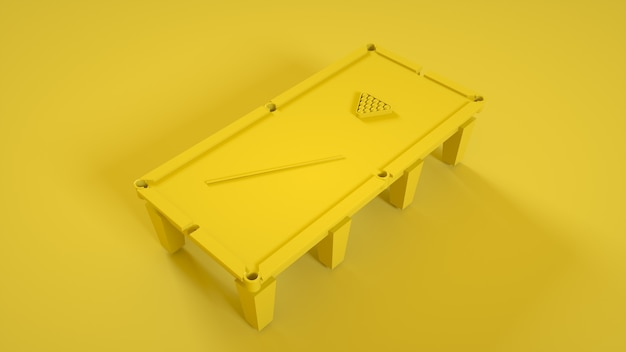 Billardtisch lokalisiert auf gelbem hintergrund. 3d-illustration.
