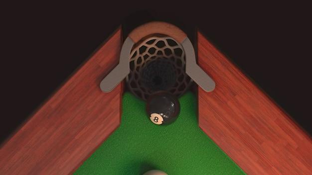 Billardtisch mit schwarzer kugel von oben