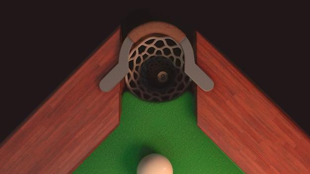Billardtisch von oben, wo eine schwarze kugel ins loch fliegt