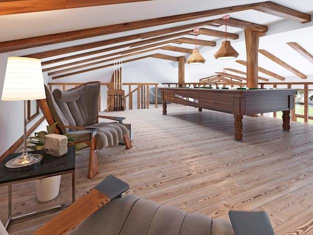 Billardzimmer auf dem dachboden mit sitzecke und kamin