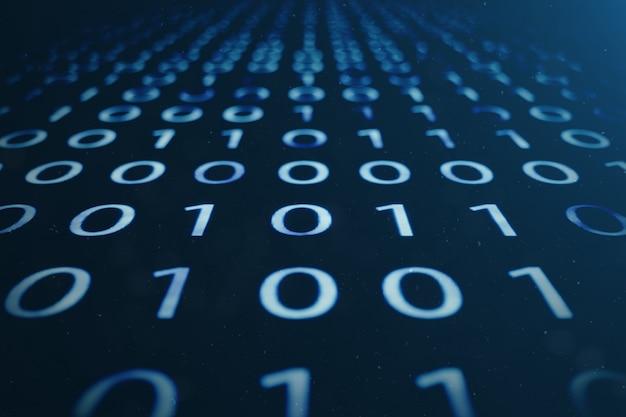 Binärcode der 3d-illustration auf blauem hintergrund. bytes des binärcodes. konzepttechnik. digitaler binärer hintergrund.