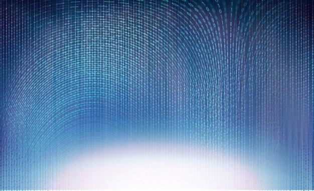 Binärcode, der auf blauem hintergrund fliegt und große digitale daten überträgt