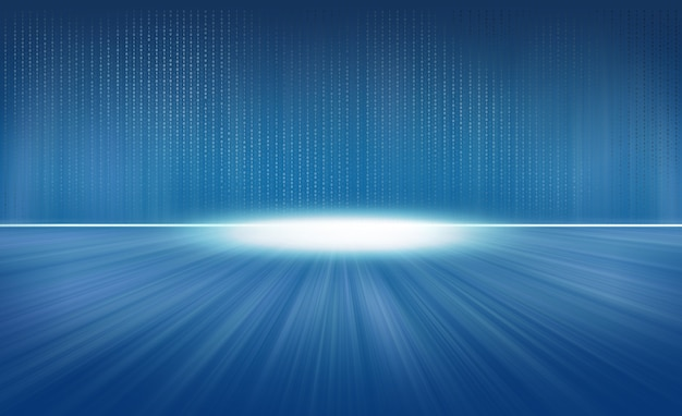 Binärcode fliegt auf blauem hintergrund
