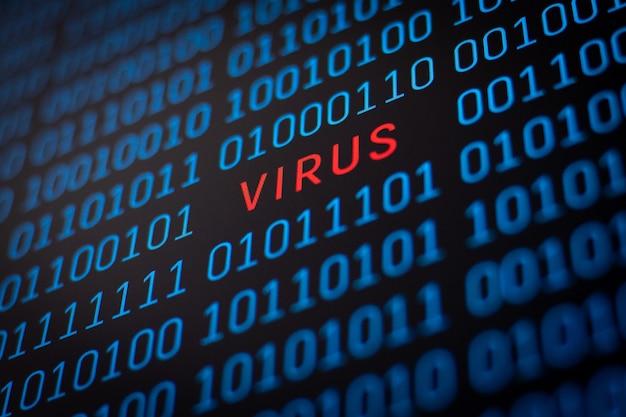 Binärcode mit 1 und 0 ziffern mit einem wort virus in der mitte