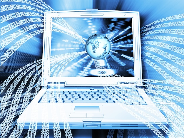 Binärcode mit globus auf laptop-computer