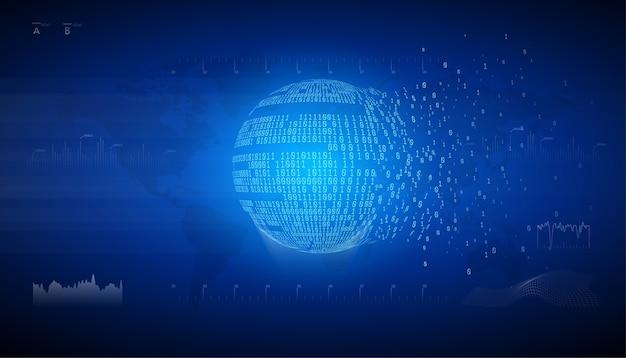 Binäre globuskugel. datenaustausch von verbindungsinformationen. technologie-planet. große daten. globales netzwerk. künstliche intelligenz. vom chaos zum system.