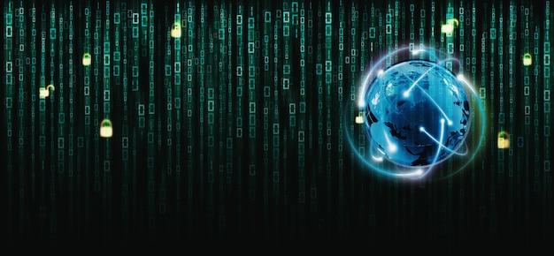 Binärer matrixcode auf dem bildschirm. zahlen der computermatrix auf dem internetsystem mit globus.