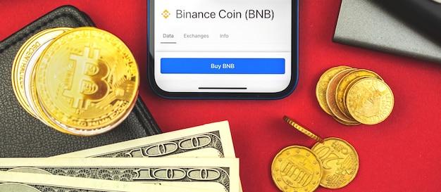 Binance coin-banner, kryptowährungswechselmarktkonzept, draufsichtfoto des betriebswirtschaftlichen hintergrunds