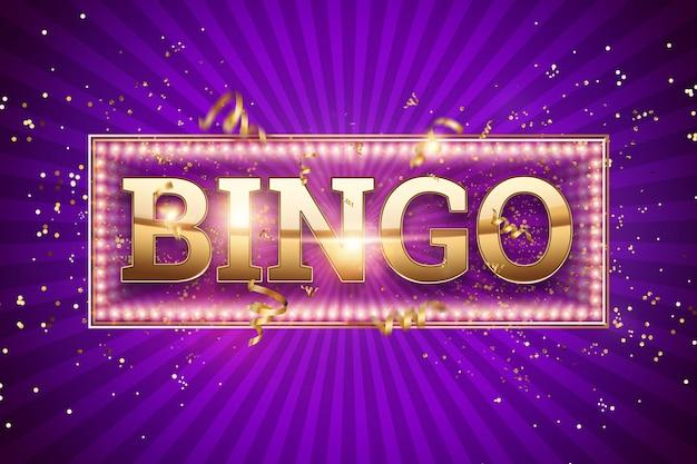 Bingobeschriftung in den goldbuchstaben auf einem purpur