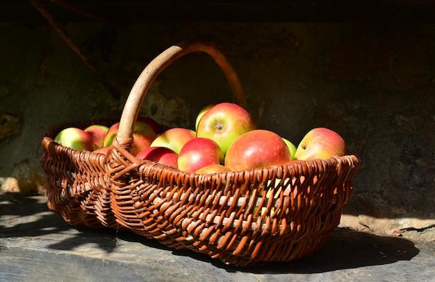 Bio-frische äpfel im korb mit sinlight