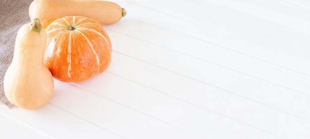 Bio-kürbis und butternut-kürbis herbstkonzept textfreiraum weißer holzhintergrund bannergröße
