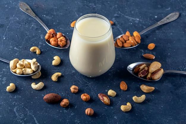 Bio vegane milchfreie milch aus nüssen. vegetarisches alternativgetränk. verschiedene arten von nüssen cashewnüsse, haselnüsse, mandeln und paranüsse