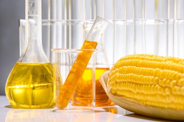Biokraftstoff aus mais, öl und biokraftstofflösung.