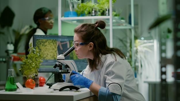 Biologe, der blattprobe in mikroskop nimmt
