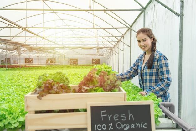 Biologischer gemüsebauernhof, geschäftslandwirt, gesundes lebensmittelkonzept