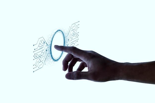 Biometrie-fingerabdruck-scan auf interaktivem bildschirm