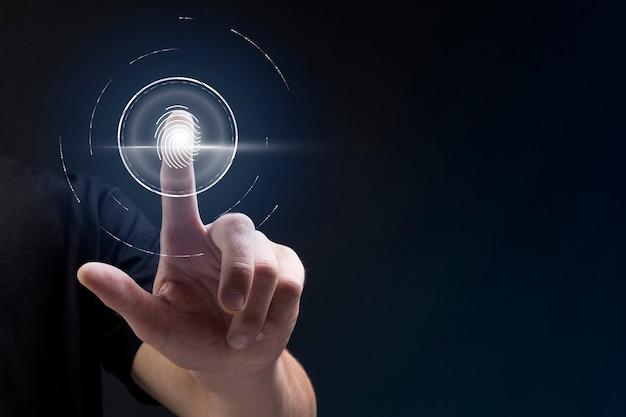Biometrischer technologiehintergrund mit fingerabdruck-scansystem auf dem digitalen remix des virtuellen bildschirms