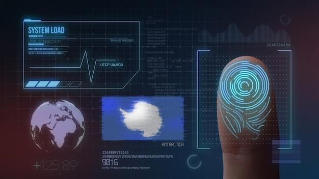 Biometrisches fingerabdruckscanner-identifikationssystem. antarktis nationalität