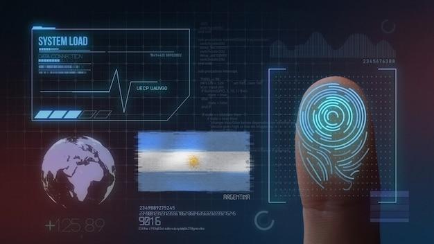 Biometrisches fingerabdruckscanner-identifikationssystem. argentinische nationalität