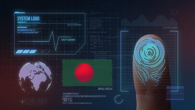 Biometrisches fingerabdruckscanner-identifikationssystem. bangladesch nationalität