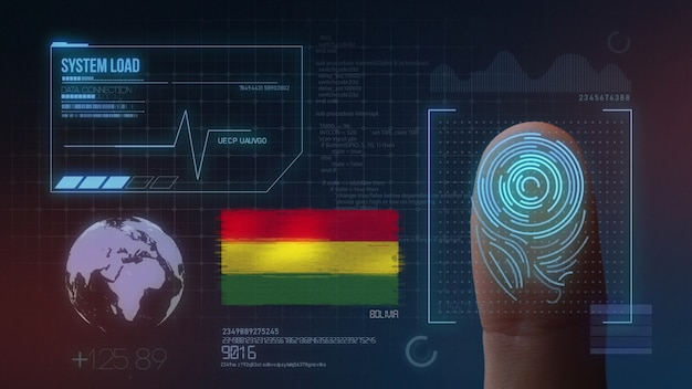 Biometrisches fingerabdruckscanner-identifikationssystem. bolivien nationalität
