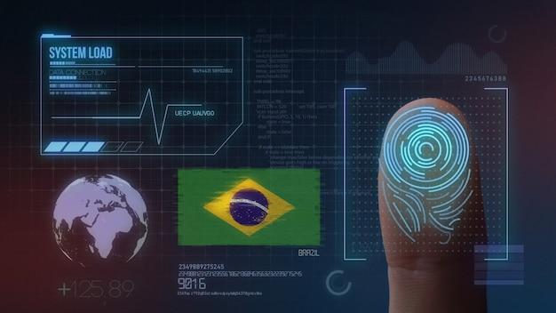 Biometrisches fingerabdruckscanner-identifikationssystem. brasilien nationalität