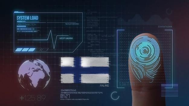 Biometrisches fingerabdruckscanner-identifikationssystem. finnische nationalität