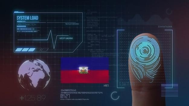 Biometrisches fingerabdruckscanner-identifikationssystem. haiti-nationalität