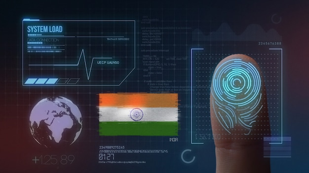 Biometrisches fingerabdruckscanner-identifikationssystem. indische nationalität