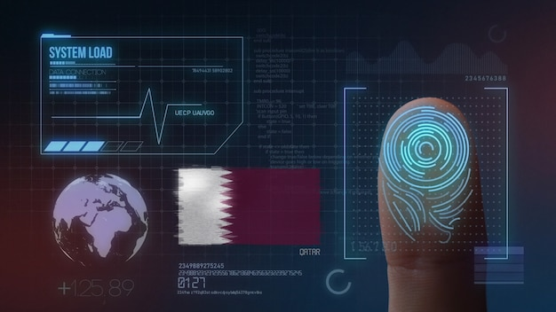 Biometrisches fingerabdruckscanner-identifikationssystem. katar nationalität