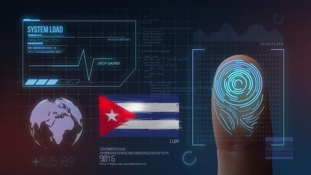 Biometrisches fingerabdruckscanner-identifikationssystem. kuba nationalität