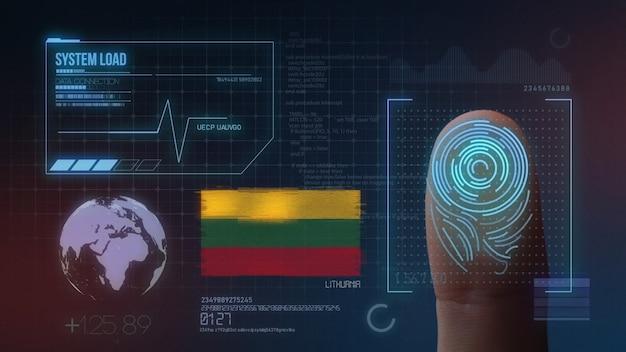 Biometrisches fingerabdruckscanner-identifikationssystem. litauen nationalität