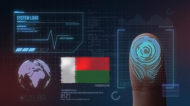 Biometrisches fingerabdruckscanner-identifikationssystem. madagaskar-nationalität