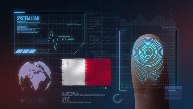Biometrisches fingerabdruckscanner-identifikationssystem. malta nationalität